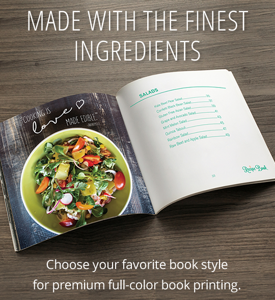 Made with the finest ingredients Choose your favorite book style for premium full-color book printing.
