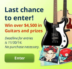 Last chance to enter! Win over $4,500 in Guitars and prizes