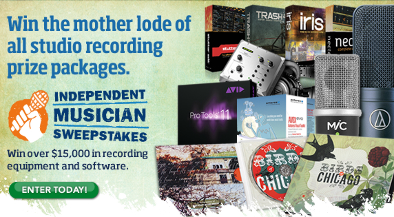 Win the mother lode of all studio recording prize packages. Enter the Independant Musician Sweepstakes Win over $15,000 in recording equipment and software.