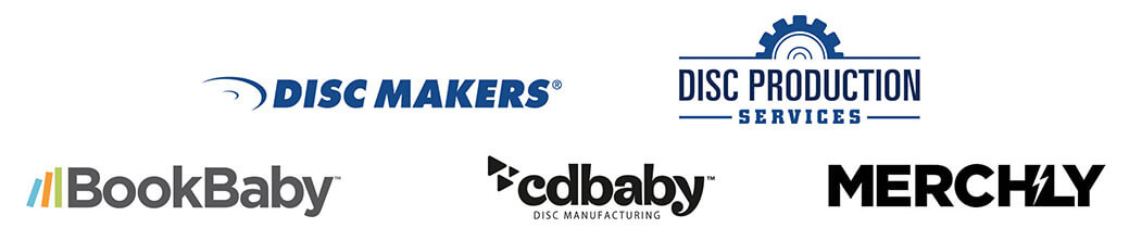 Logos - Discmakers, Disc Production Services, Merchly, BookBaby, CD Baby