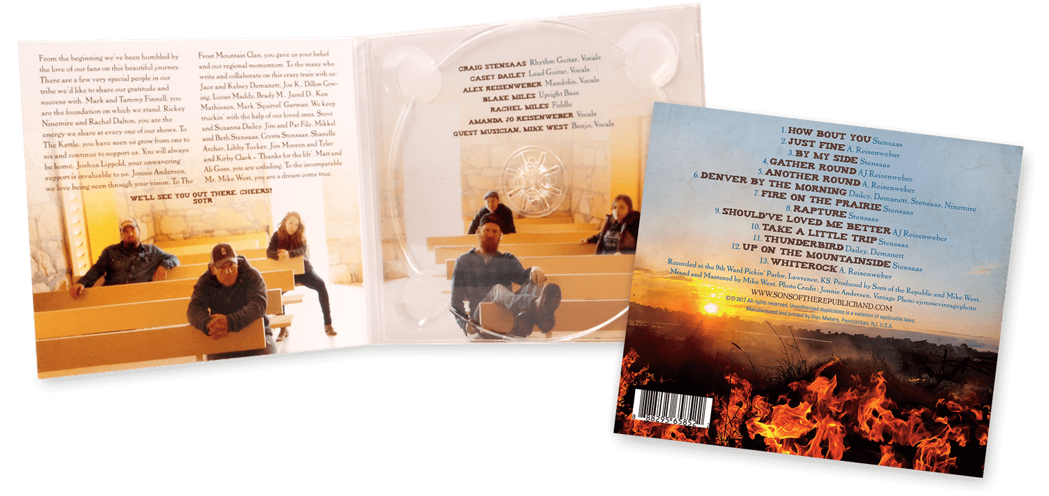 Sons of the Republic – Fire on the Prairie CD Digipak custom design artwork