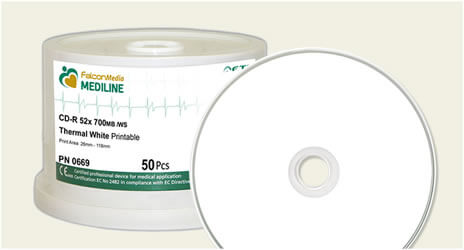 Falcon White Thermal, Medical Grade CD-Rs