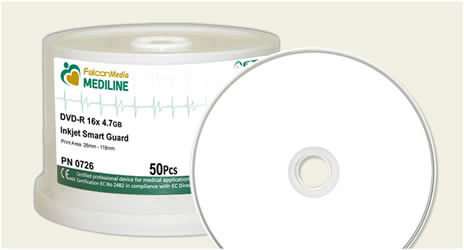 Falcon White Inkjet, Medical Grade DVD-Rs