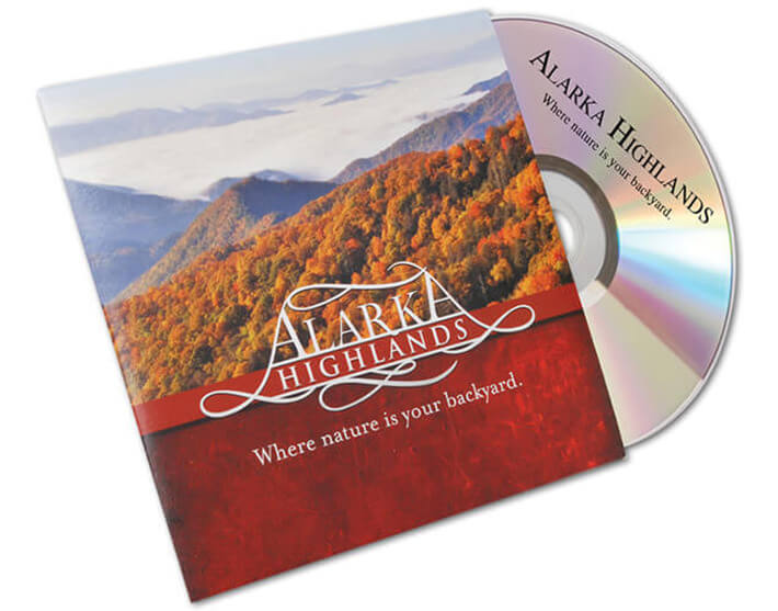 Alarka Highlands custom DVD jacket and printed disc.