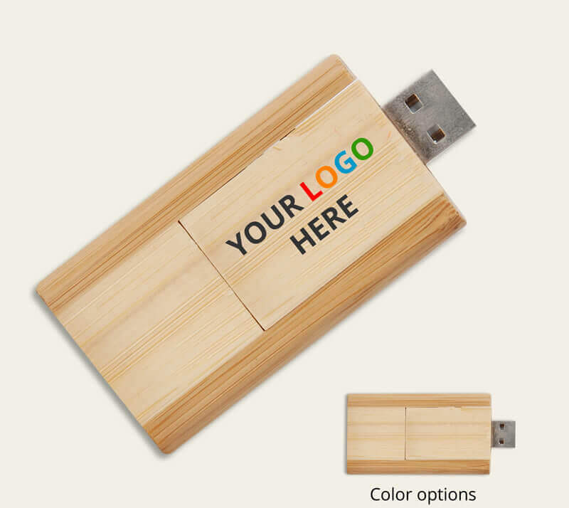 Custom printed bamboo flash drive with up to 16GB of memory.