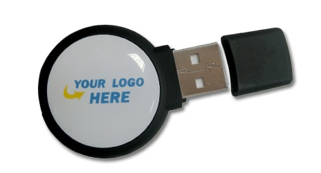 A 3D circular shaped custom USB drive